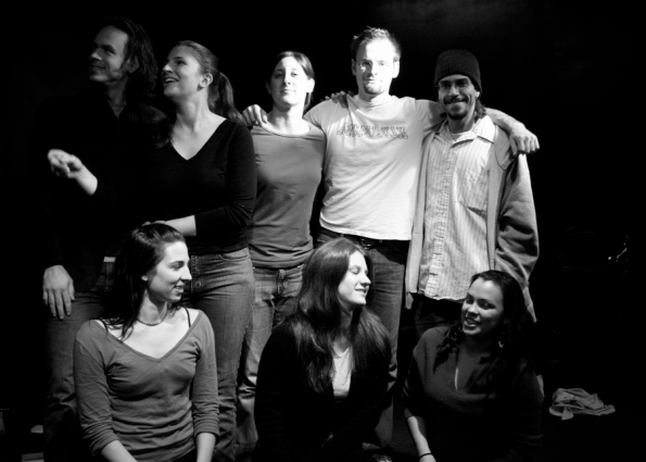 Cast & Crew from top left: director Jeremy Lydic, actress/co-founder Kathryn Cleveland Bedrosian, actress/co-founder Blaine Cook Turk, stage manager/tech engineer Mark Penzien, writer/director Frank Reynoso; bottom left: actress/co-founder Emily Niewendorp, actress/company member Theresa Galeani, and choreographer Lynann Escatel. Photo: Raphaelle Romana